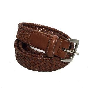 Talbots Brown Braided Womens Leather Belt
